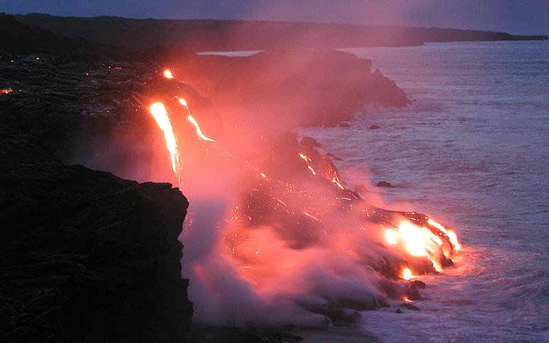 Molten Lava Meets The Sea