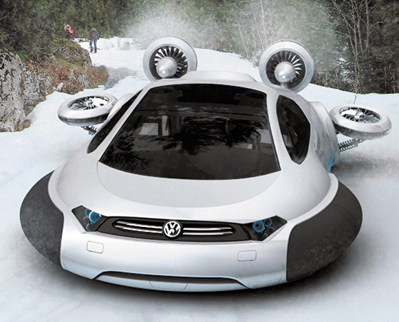 Seems likes the Bugatti Veryron and the floating car concepts were not enough for Volkswagen. They have gone and come up with a concept for a hovercraft!