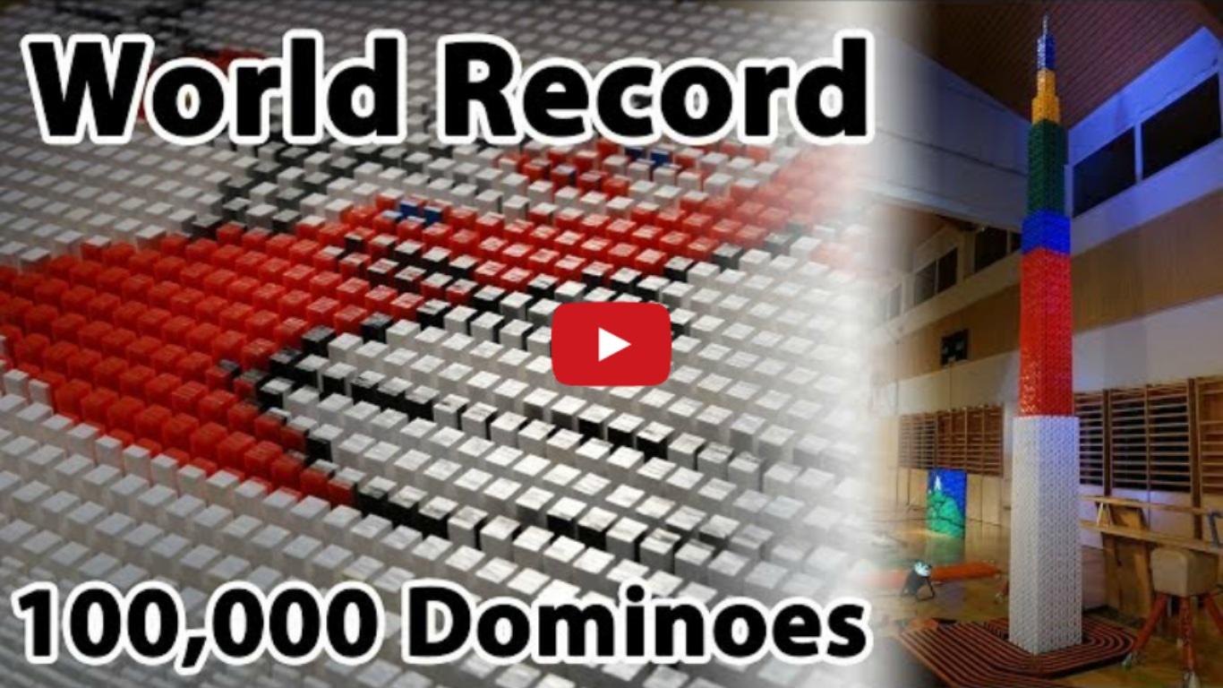 100,000 Dominoes - Guinness World Record For Tallest Domino Structure