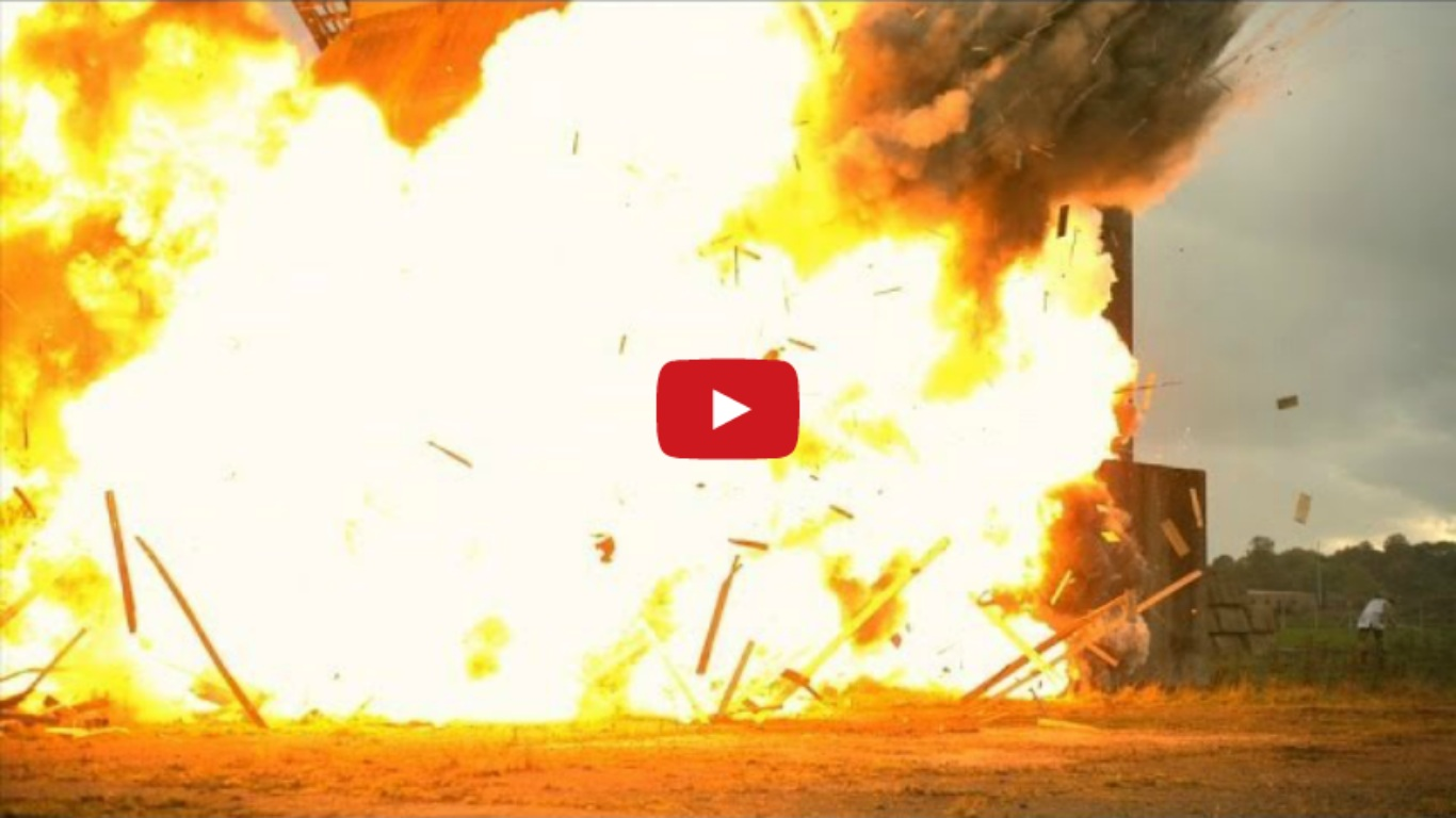 Huge Building Explosion at 2500fps