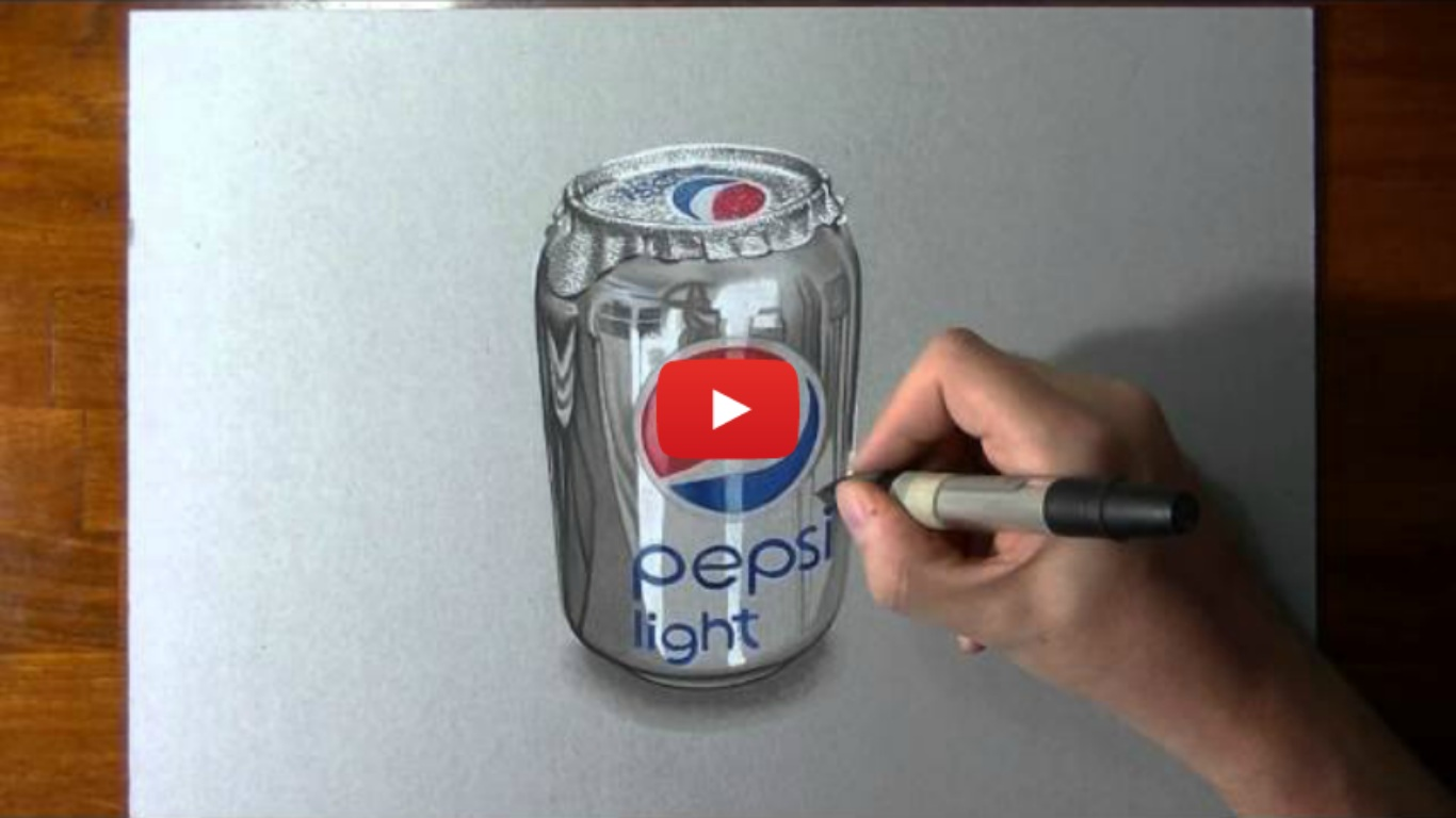 Crazy Realistic Drawing Of A Pepsi Can