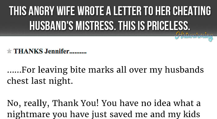 An Angry Wife Writes A Letter To Her Cheating Husbands Mistress